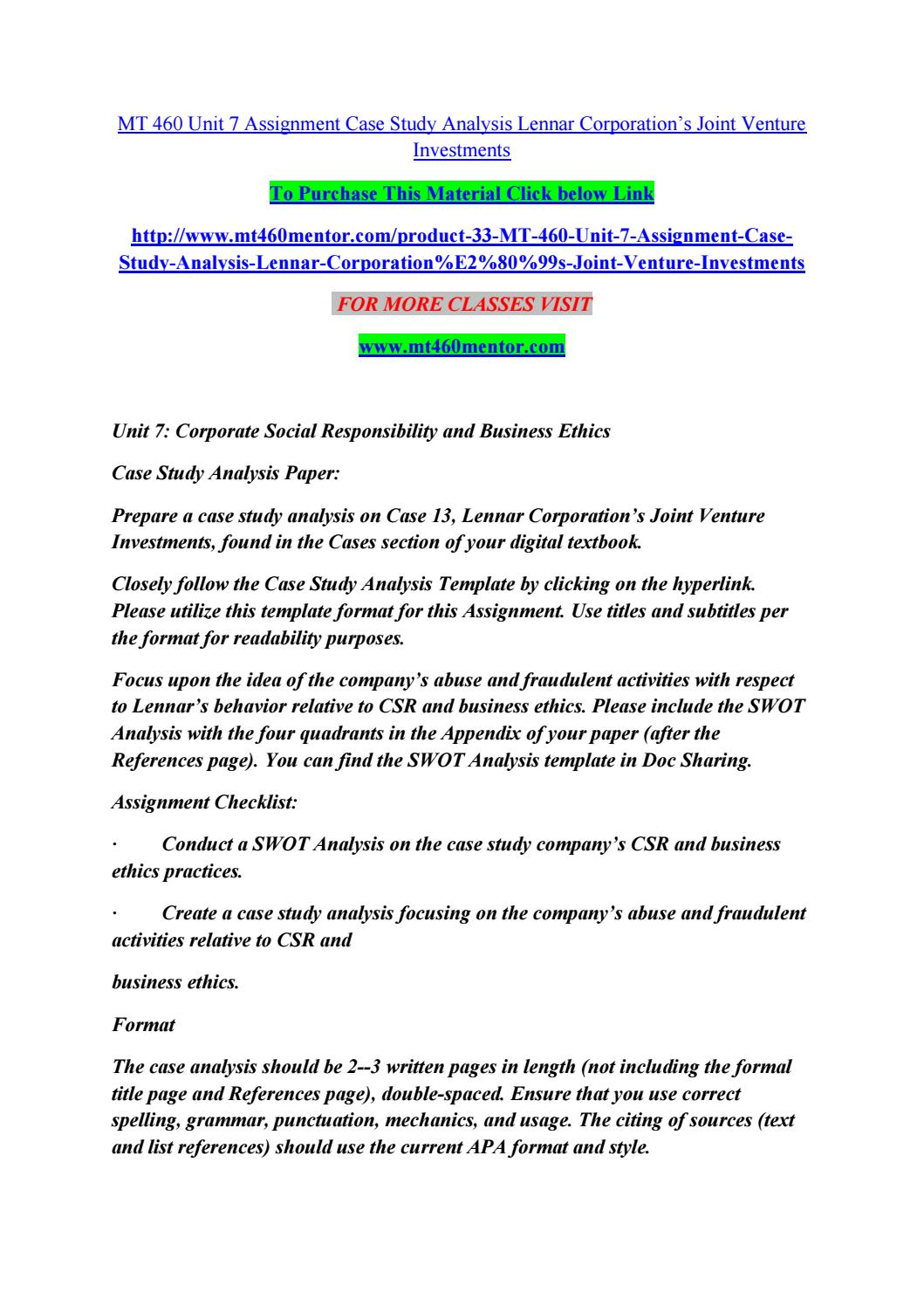 mt 460 unit 7 assignment case study analysis lennar corporation s mt 460 unit 7 assignment case study analysis lennar corporation s joint venture investments by singht rock2