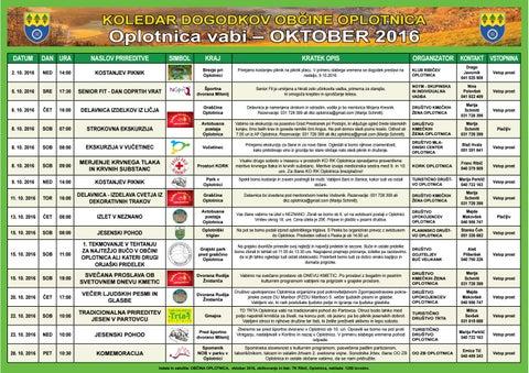 Koledar prireditev občine Oplotnica oktober 2016