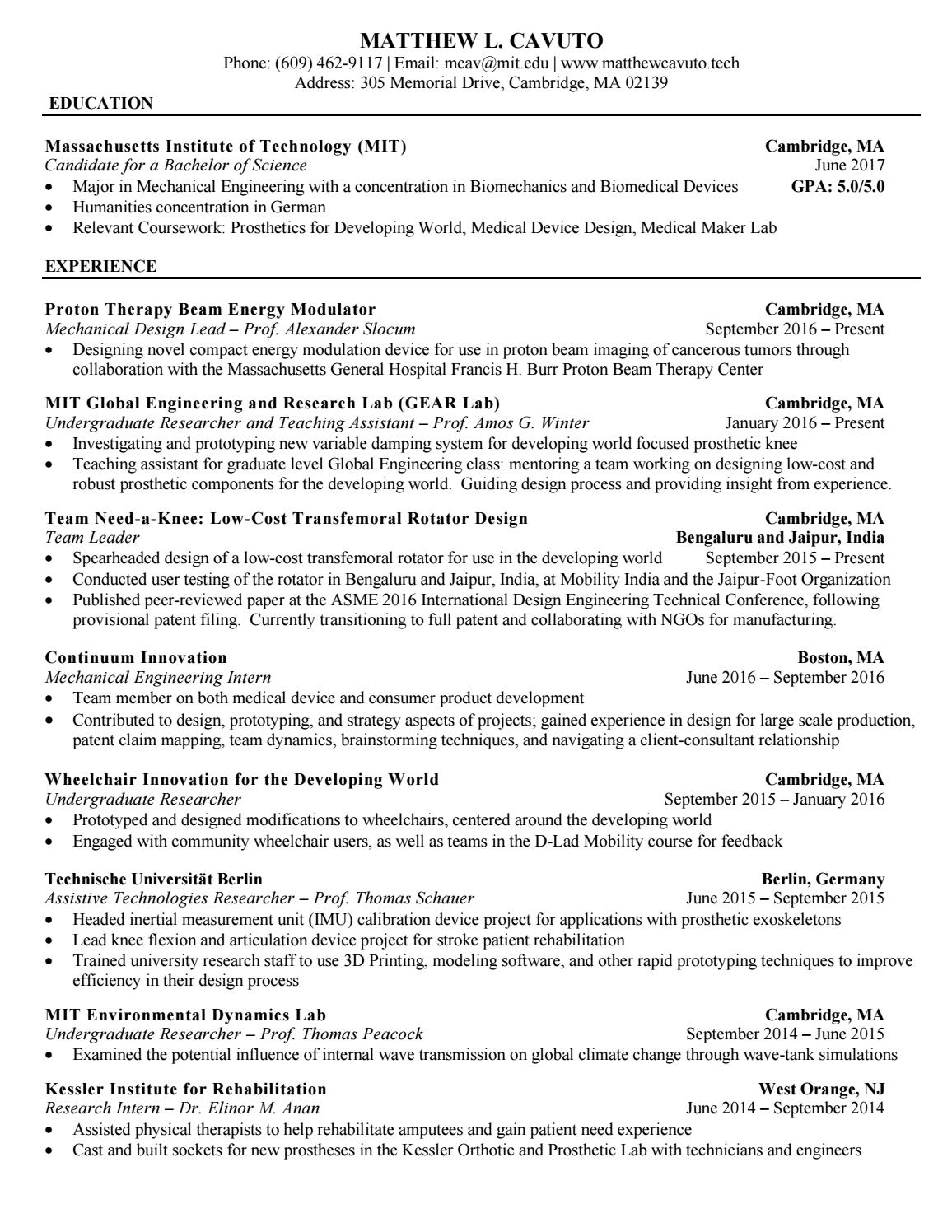 mit sample resume Resumes/cover letters resumes/cover letters resumes a resume is a brief summary of your qualifications, education, and experiences relevant to your job search objective.