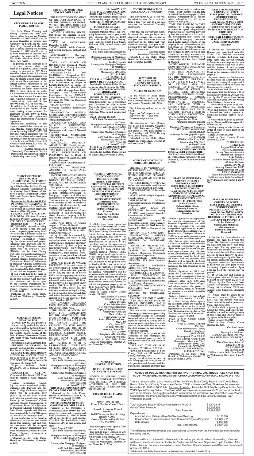 legals 2 2016 by belle plaine herald issuu