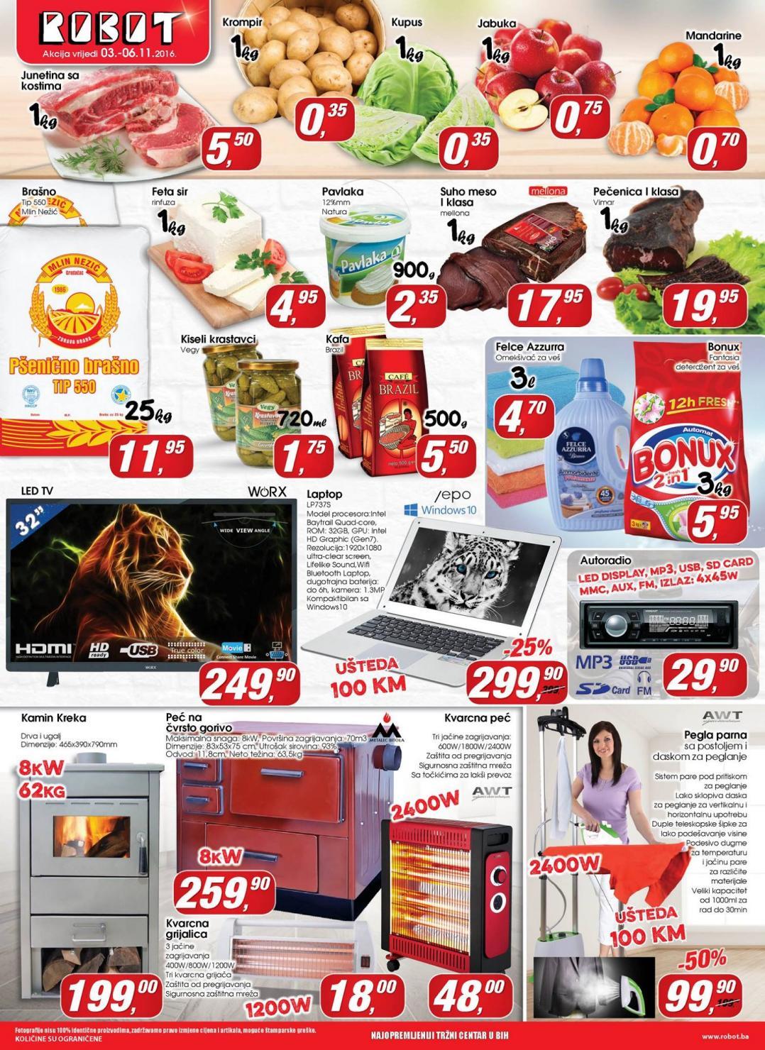 Nova vikend akcija i nove super cijene prehrane i tehnike od 03.- 06.11.2016..2016. u Robot supermarketima!