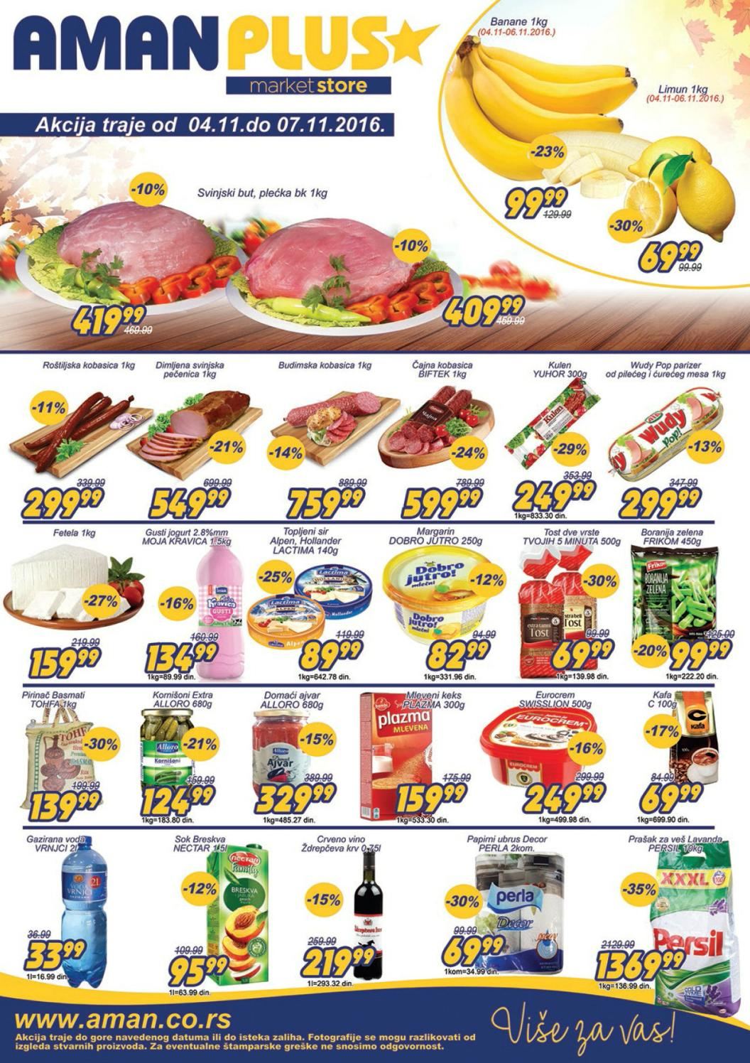 Nova vikend akcija od 04.- 06.11.2016. u Aman i Aman Plus supermarketima.