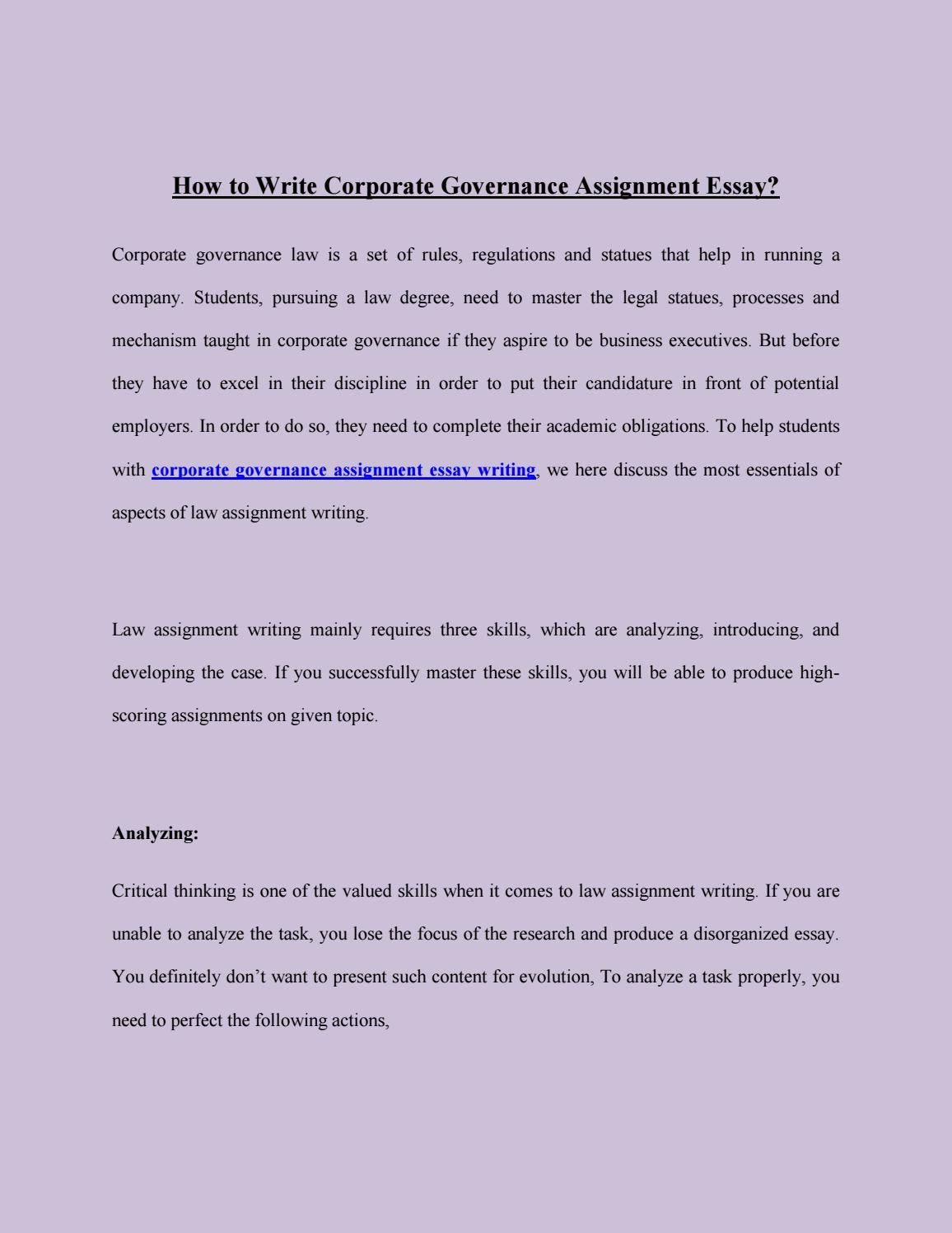assignment essay descriptive essay assignment definition essay  how to write corporate governance assignment essay by ameeliabrown how to write corporate governance assignment essay