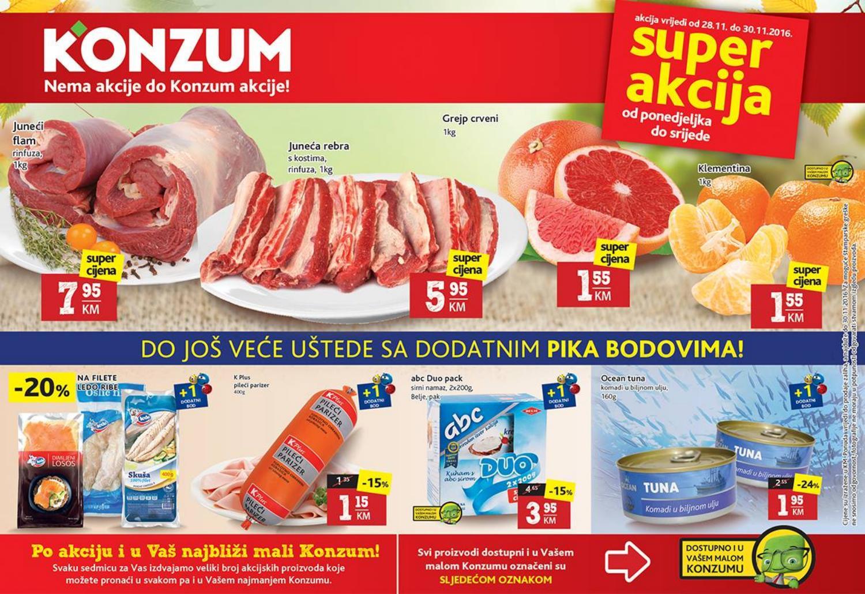 Nema akcije do Konzum akcije! Nova Super akcija u Konzum supermarketima od 28.- 30.10.2016.
