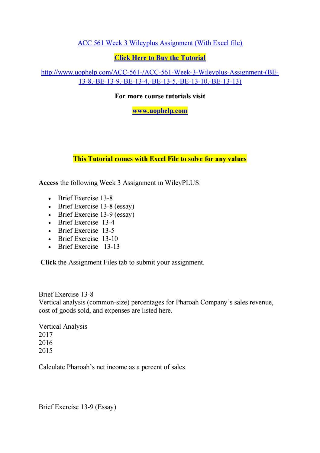 acc week wileyplus assignment excel file by acc 561 week 3 wileyplus assignment excel file by jabbaree20 issuu