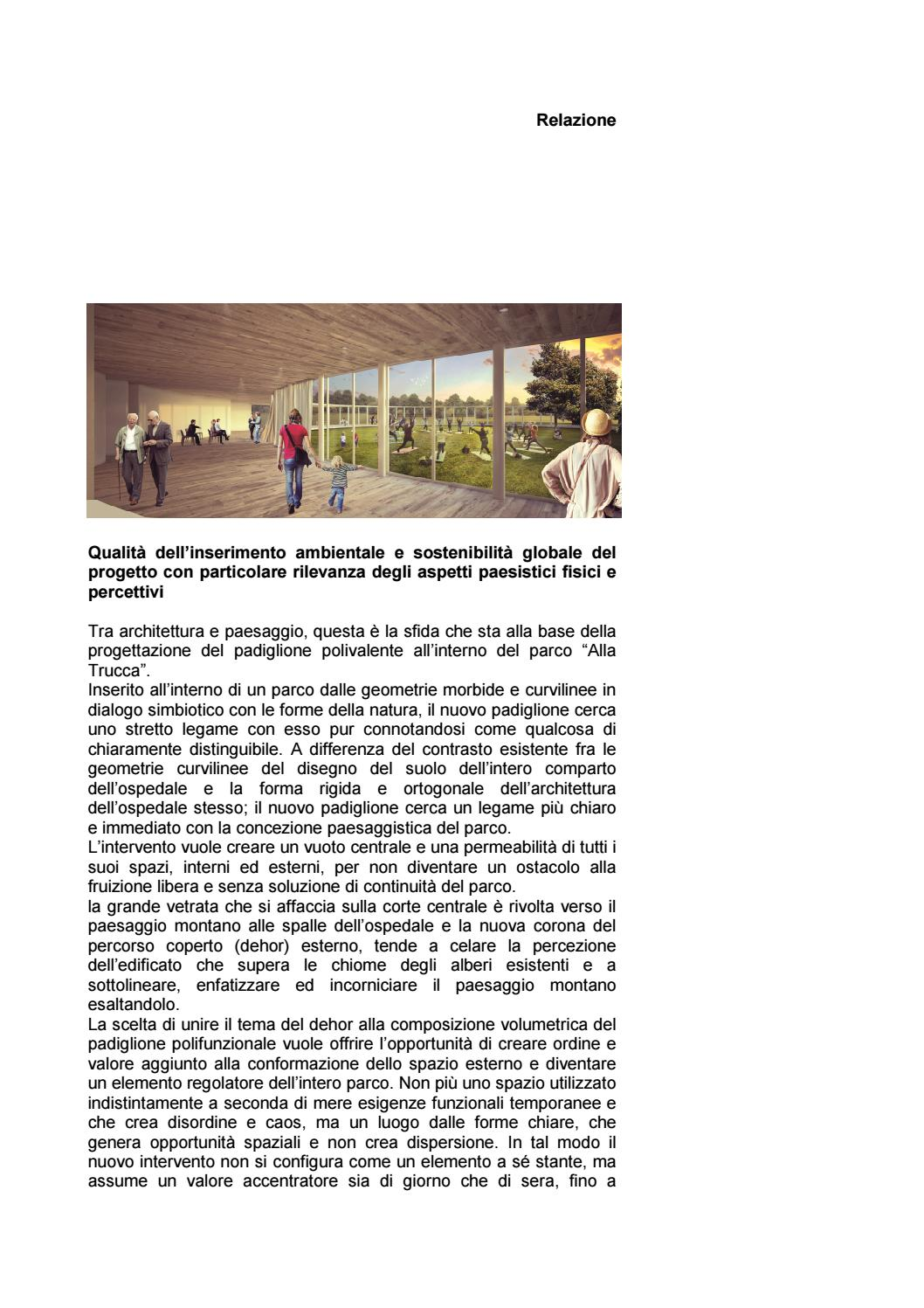 Il progetto del futuro padiglione del parco della trucca for Piani di progettazione del padiglione