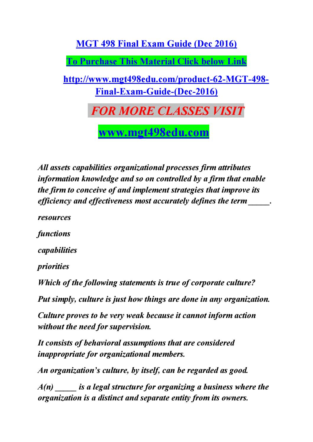 mgt 498 final exam guide mgt498edu com by nadkeirkck issuu