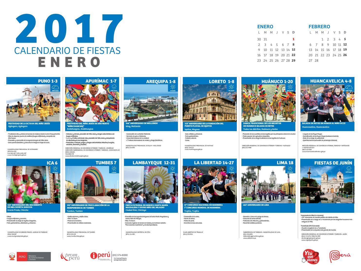 Calendario de fiestas per enero 2017 by visit peru issuu - Mes de enero 2017 ...