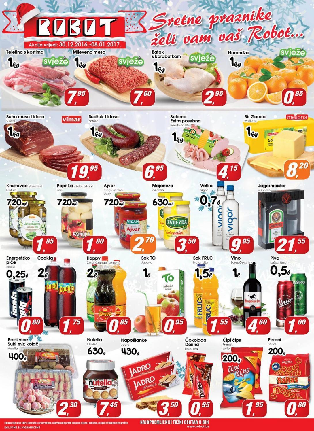 Sretan Nova godina i nove super cijene prehrane i tehnike od 30.12.- 08.01.2017. u Robot supermarketima!