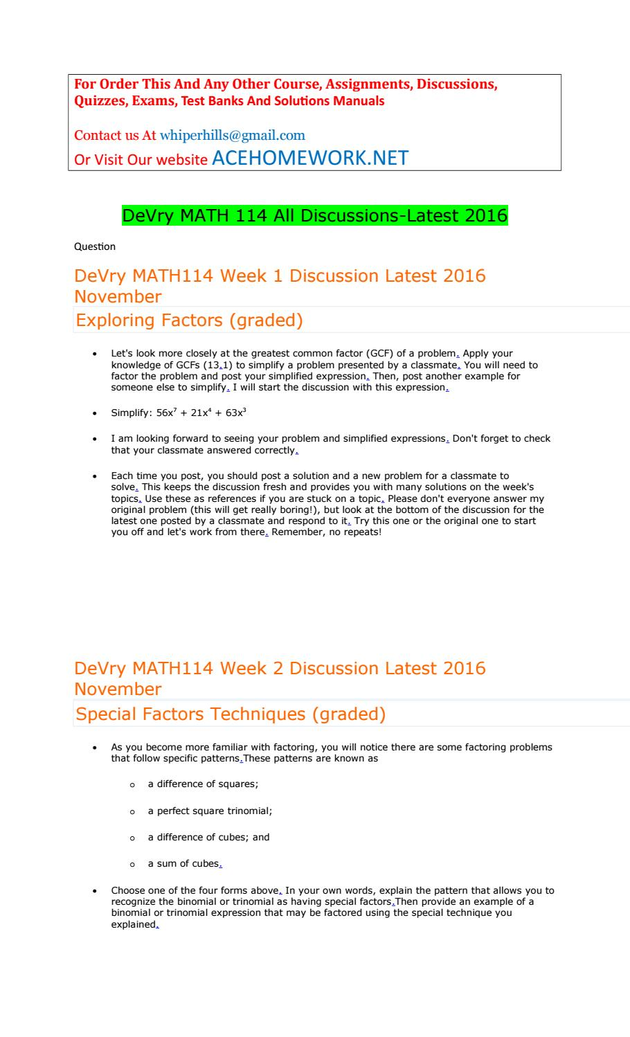 Devry Math 114 All Discussions Latest 2016 By Ewteww Issuu Examples Of  Factoring Quadratic Trinomials With