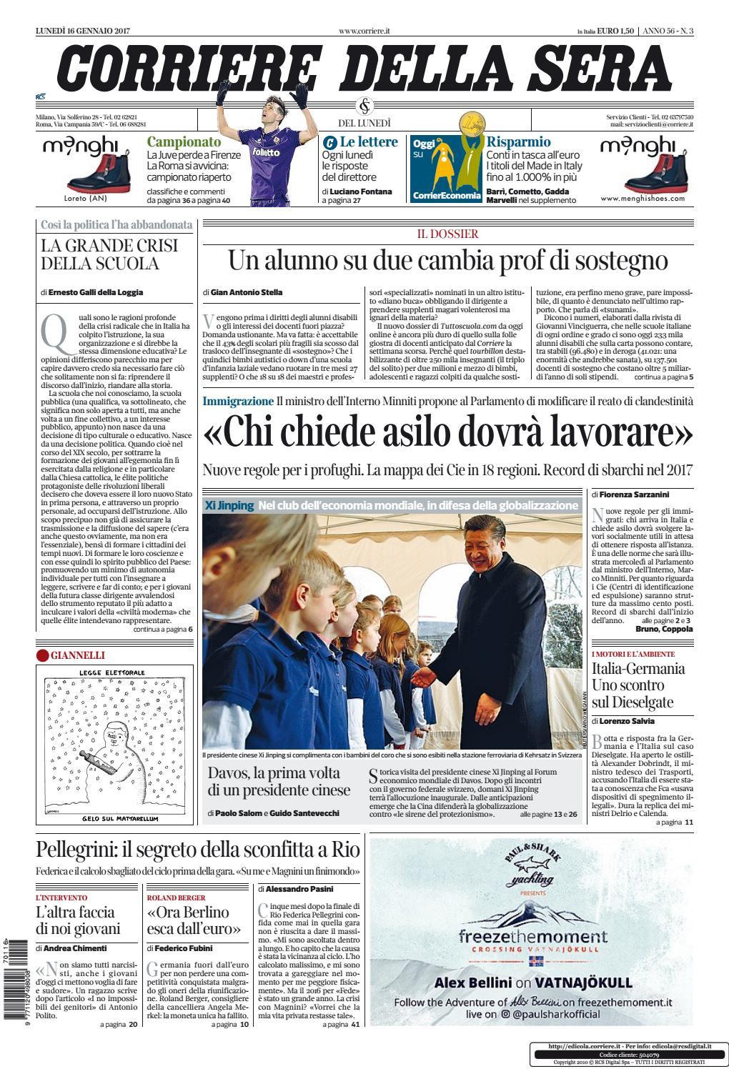 Corriere della sera 20170116 by kantar media issuu for Corriere della sera arredamento