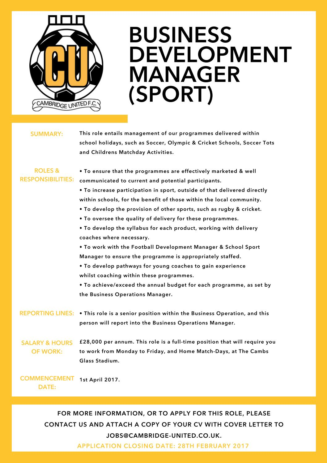 business development manager sport by cambridge united football business development manager sport by cambridge united football club issuu