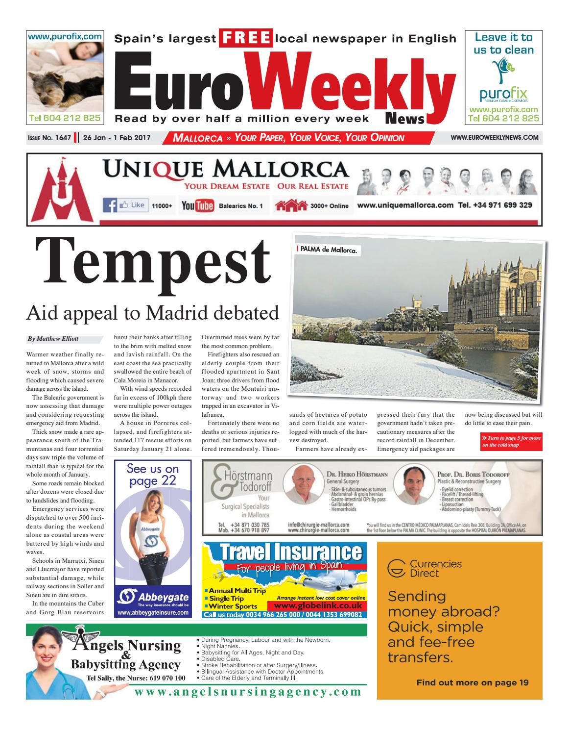 euro weekly news mallorca 26 1 2017 issue euro weekly news mallorca 26 1 2017 issue 1647 by euro weekly news media s a issuu