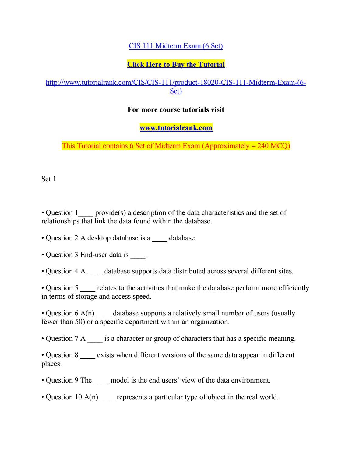 An analysis of midterm examination