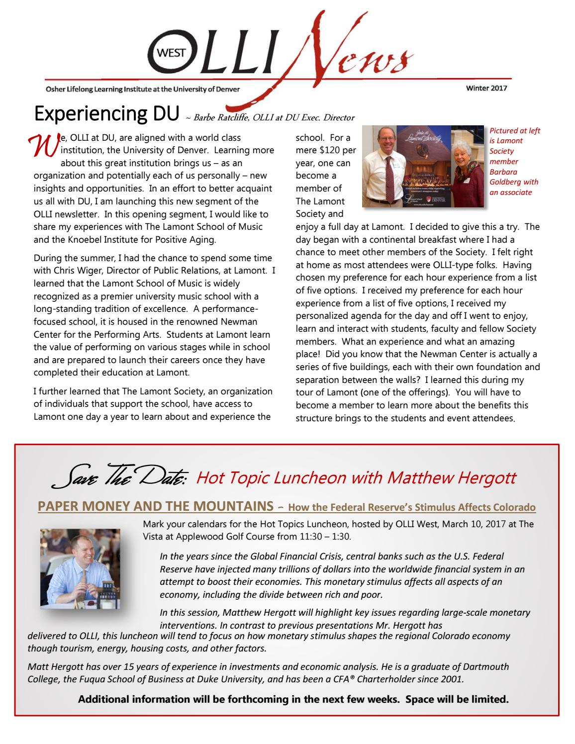 olli west winter newsletter by olli at du issuu