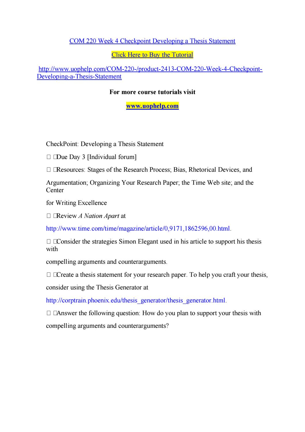 developing a thesis statement checkpoint
