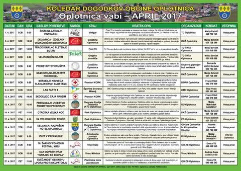 Koledar prireditev občine Oplotnica april 2017