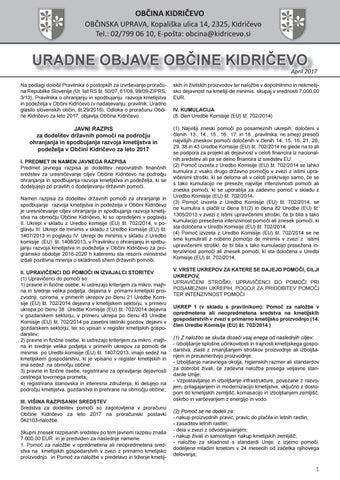 Aktualni razpisi april 2017