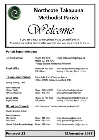 Takapuna Methodist Church Bulletin 12th November 2017 - Pentecost 23