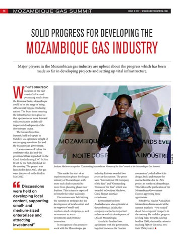 Solid progress for developing the Mozambique gas industry
