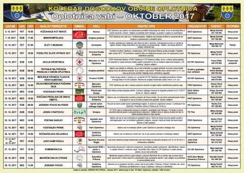 Koledar oktober 2017