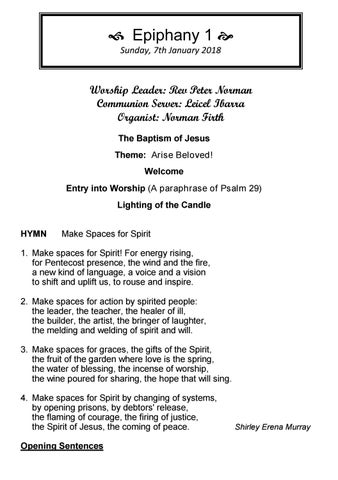 Takapuna Methodist Church Bulletin 7th January 2018 - Epiphany 1