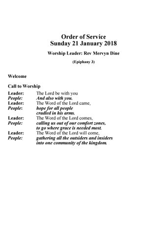 Takapuna Methodist Church Bulletin 21st January 2018 - Ephiphany 3