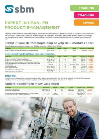 SBM Expert in lean en productiemanagement najaar 2018