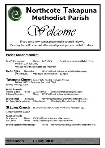 Takapuna Methodist Church Bulletin 15 July 2018  Pentecost 8