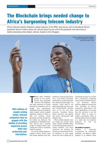 The Blockchain brings needed change to Africa�s burgeoning telecom industry