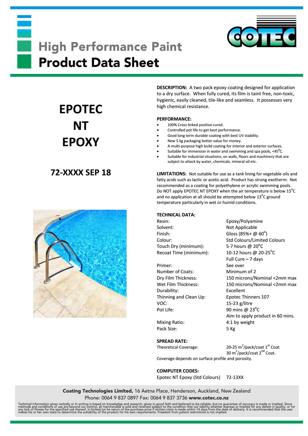 Epotec NT Epoxy Pool Paint – The Fibreglass Shop
