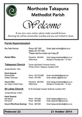 Takapuna Methodist Church Bulletin 21 October 2018 Pentecost 22