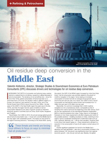 Oil residue deep conversion in the Middle East