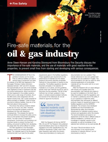 Fire-safe materials for the oil and gas industry