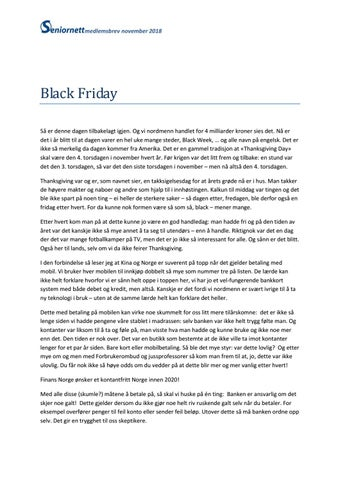 Medlemsbrev november 2018. Black Friday