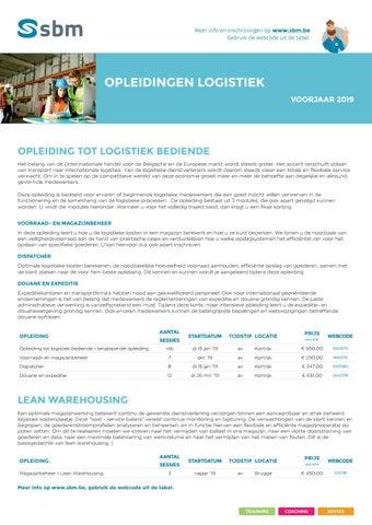 SBM Opleidingen logistiek Voorjaar 2019