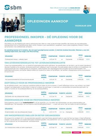 SBM Opleidingen aankoop Voorjaar 2019