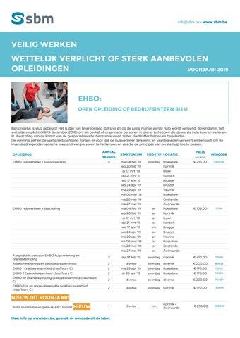 SBM Veilig werken - Wettelijk verplichte opleidingen Voorjaar 2019
