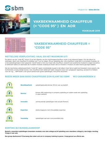 SBM Vakbekwaamheid Code 95 Voorjaar 2019