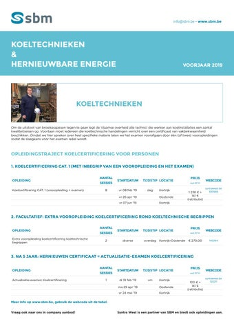 SBM koeltechnieken en hernieuwbare energie Voorjaar 2019