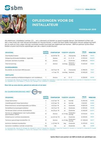 SBM Opleidingen voor de installateur Voorjaar 2019