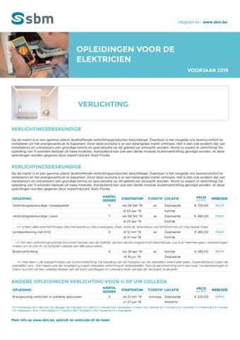 SBM Opleidingen voor de elektricien Voorjaar 2019