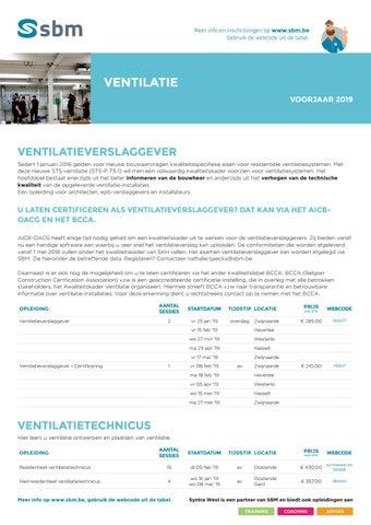SBM opleidingen ventilatie Voorjaar 2019