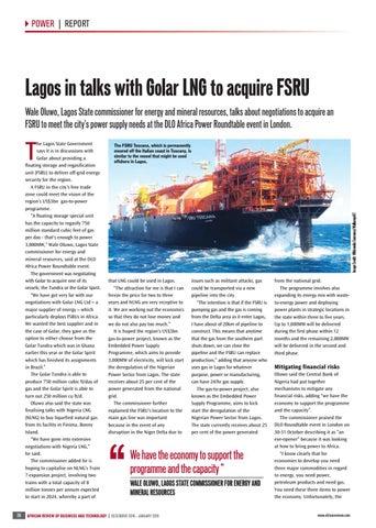 Lagos in talks with Golar LNG to acquire FSRU