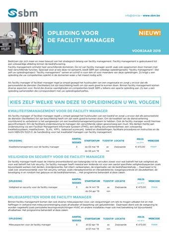 SBM opleidingen voor de facility manager Voorjaar 2019