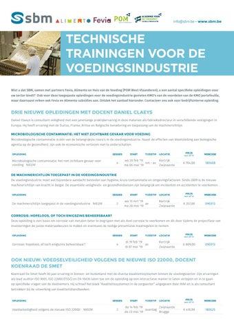 SBM Technische trainingen voedingsindustrie Voorjaar 2019