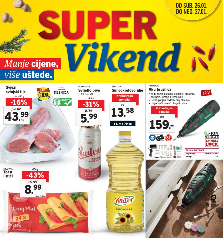 Novi super popusti na odabrane proizvode u Lidlovom Super vikendu od 26.-  27.01.2019. godine.