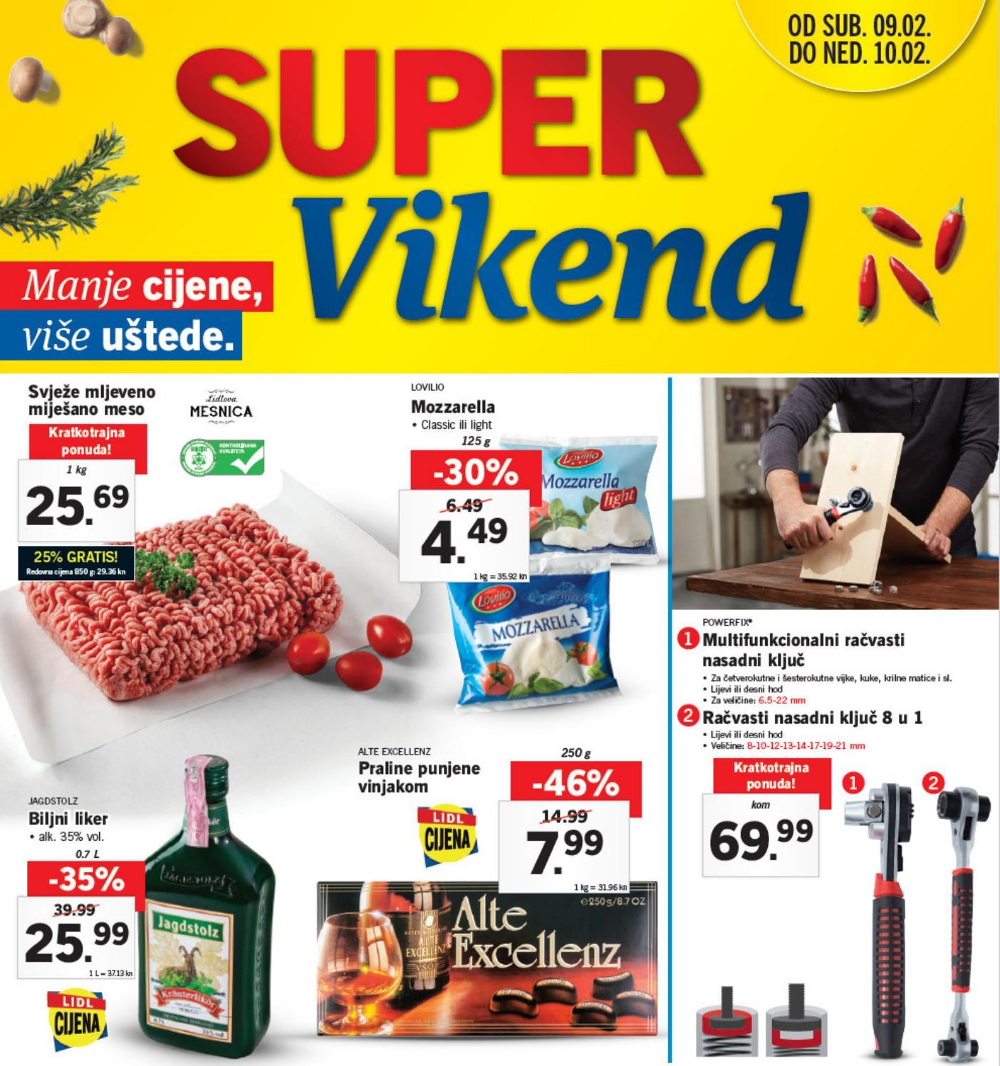 Novi super popusti na odabrane proizvode u Lidlovom Super vikendu od 08.-  09.02.2019. godine.