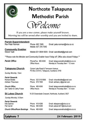 Takapuna Methodist Church Bulletin 24 February 2019