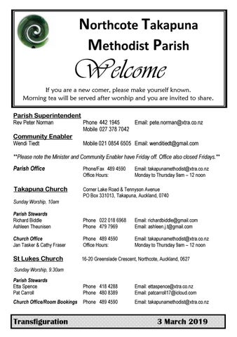 Takapuna Methodist Church Bulletin 3 March  2019